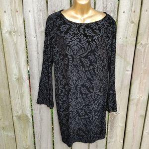 Black velvet burnout bell sleeve dress size M
